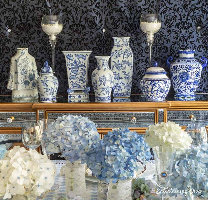 Blue and white Chinoiserie ginger jars on the buffet
