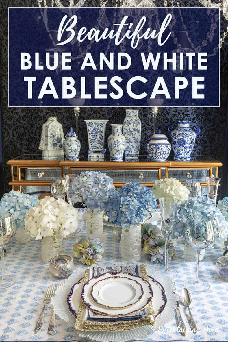 beautiful blue and white summer tablescape