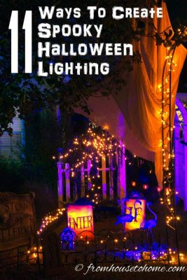 ways to create spooky Halloween outdoor lighting