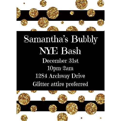 Black, white and gold invitation