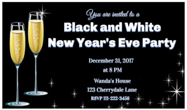 Black and white New Year's Eve party invitation