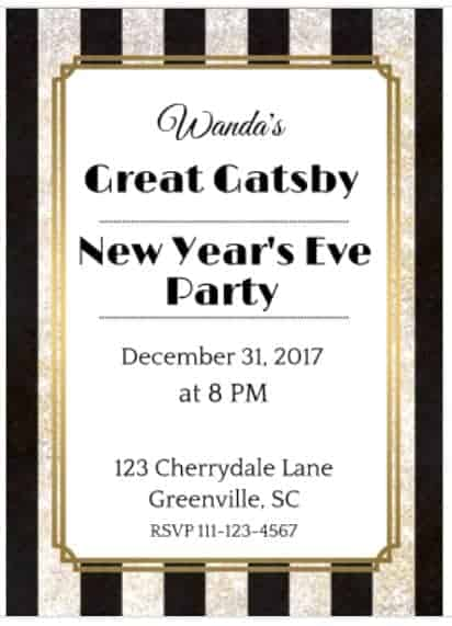 Great Gatsby New Year's Eve party invitation
