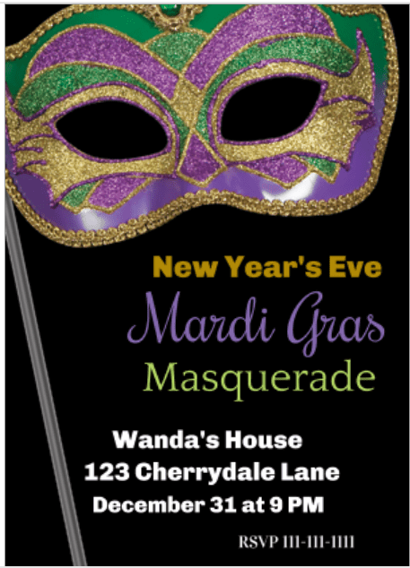 Mardi Gras Masquerade party invitations