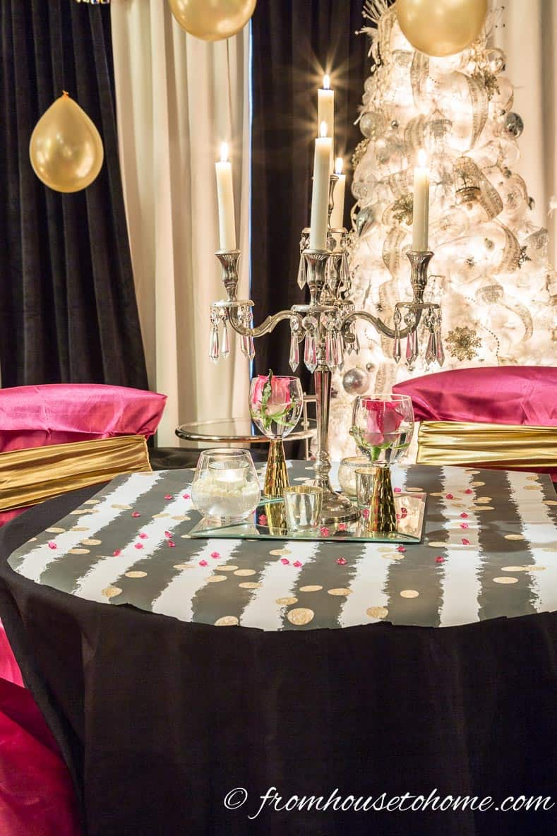 Black and white striped wrapping paper as table runner