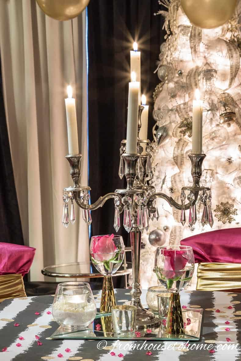 Candelabra with pink roses