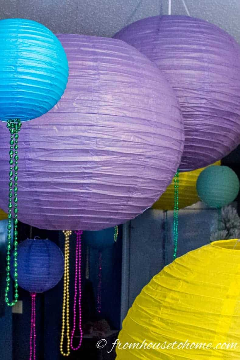 Paper lanterns in Mardi Gras colors
