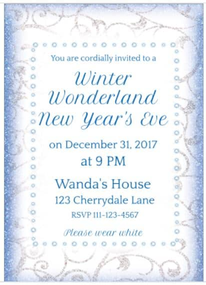 Winter Wonderland New Year's Eve invitation