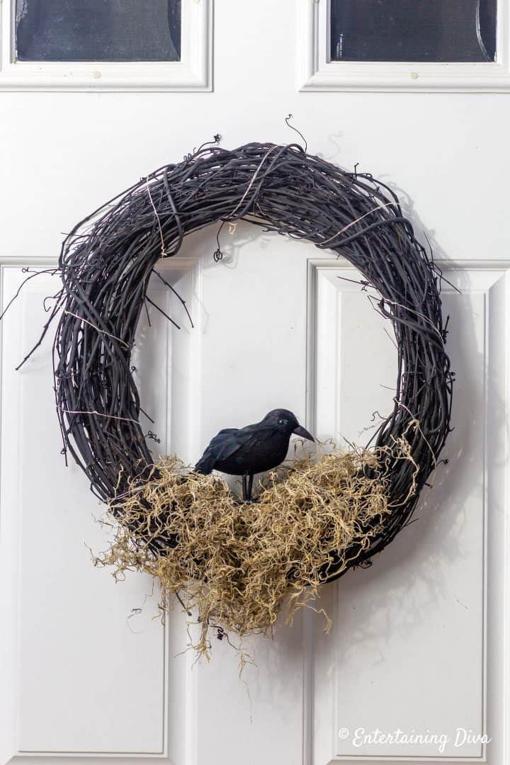 Crow's Nest DIY Halloween wreath on front door