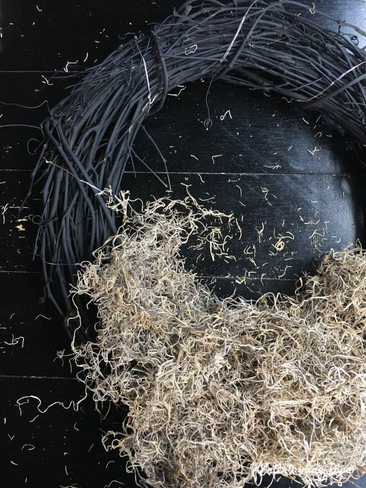 Twig wreath with Spanish moss