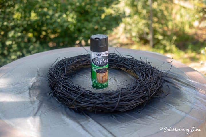 Grapevine wreath spray painted black