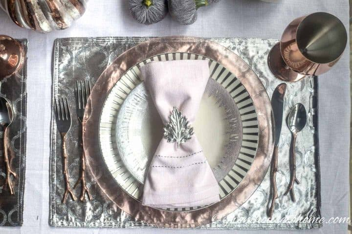 Pink, silver and copper fall table setting