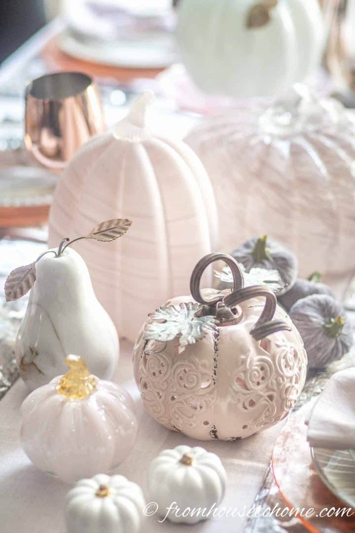 white and blush pink pumpkins on a fall tablescape