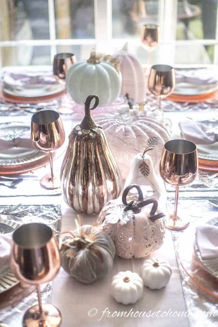 Fall tablescape with blush pink pumpkin centerpiece