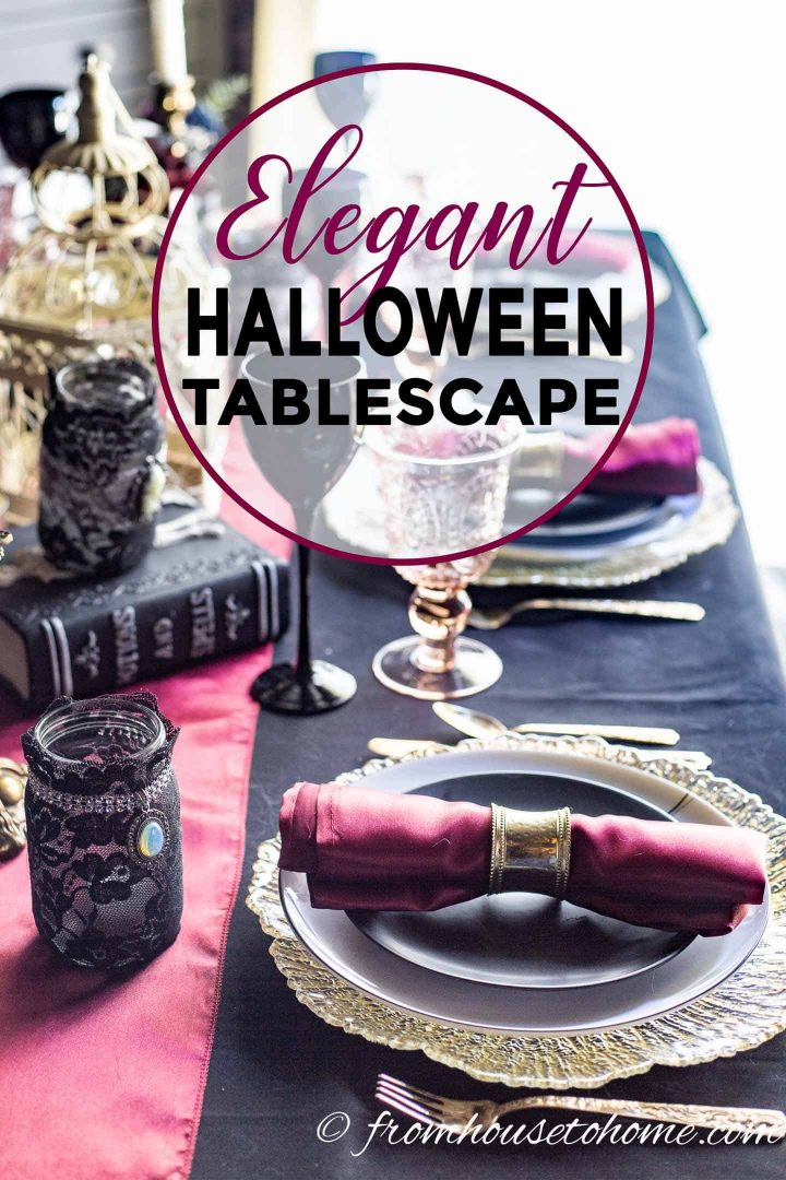 Elegant Black Red And Gold Halloween Table Setting Entertaining