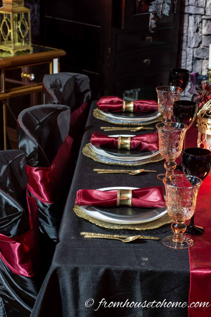 Elegant Black Red And Gold Halloween Table Setting Entertaining Diva From House To Home