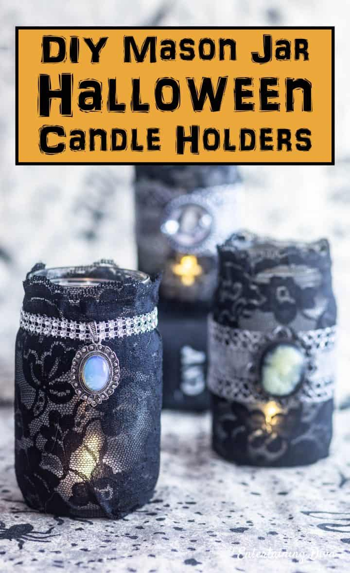 Elegant gothic lace DIY Halloween mason jar candle holders