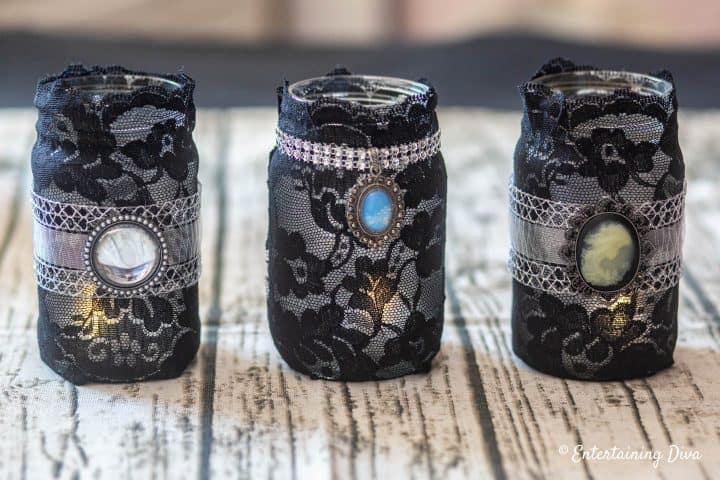 Gothic lace DIY Halloween mason jar candle holders