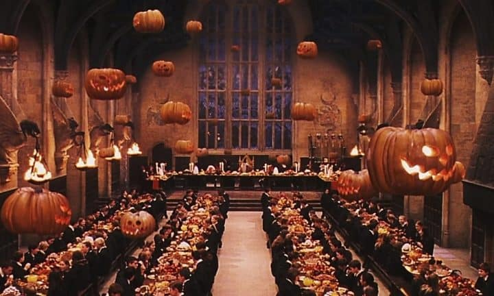 Harry Potter movie Halloween scene with floating pumpkins
