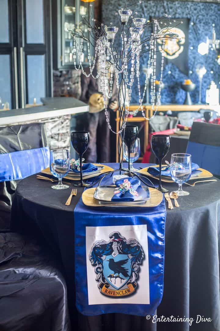 Harry Potter party Ravenclaw house table setting