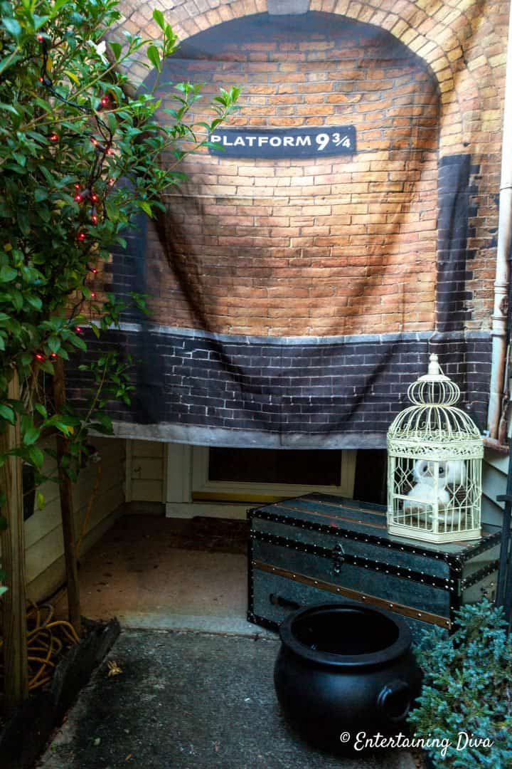 Harry Potter party ideas - Platform 9 3/4 with trunk and Hedwig owl in a cage