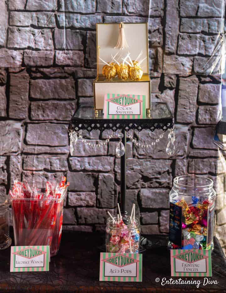 Harry Potter party Honeydukes candy bar with licorice wands, acid pops and fainting fancies candies