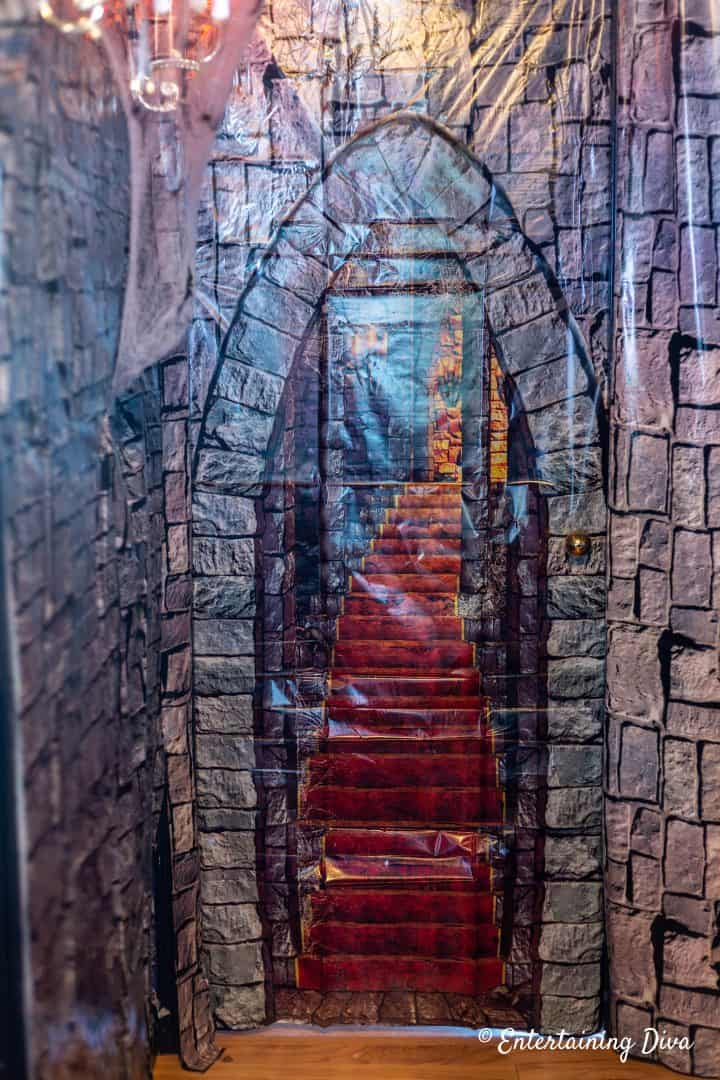 Harry Potter party brick wall scene setter with picture of stairs