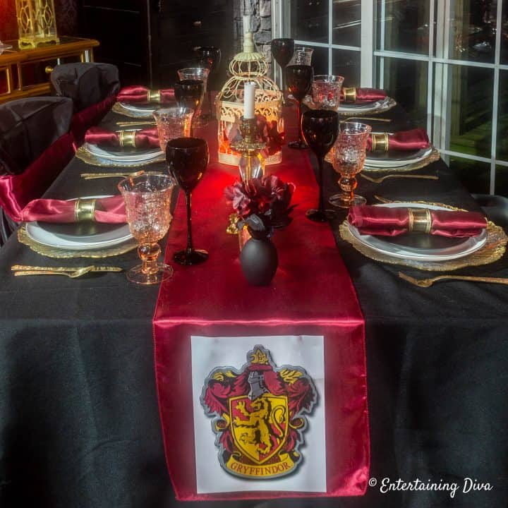 Harry Potter party Gryffindor house table setting with crest