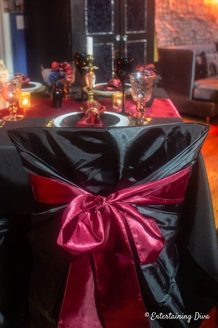Harry Potter party red chair sash with black chair covers