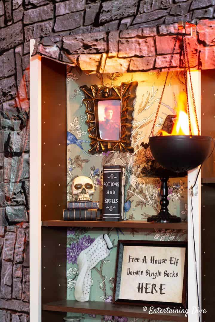 Harry Potter Halloween party shelves with potion books and Free a House Elf sign