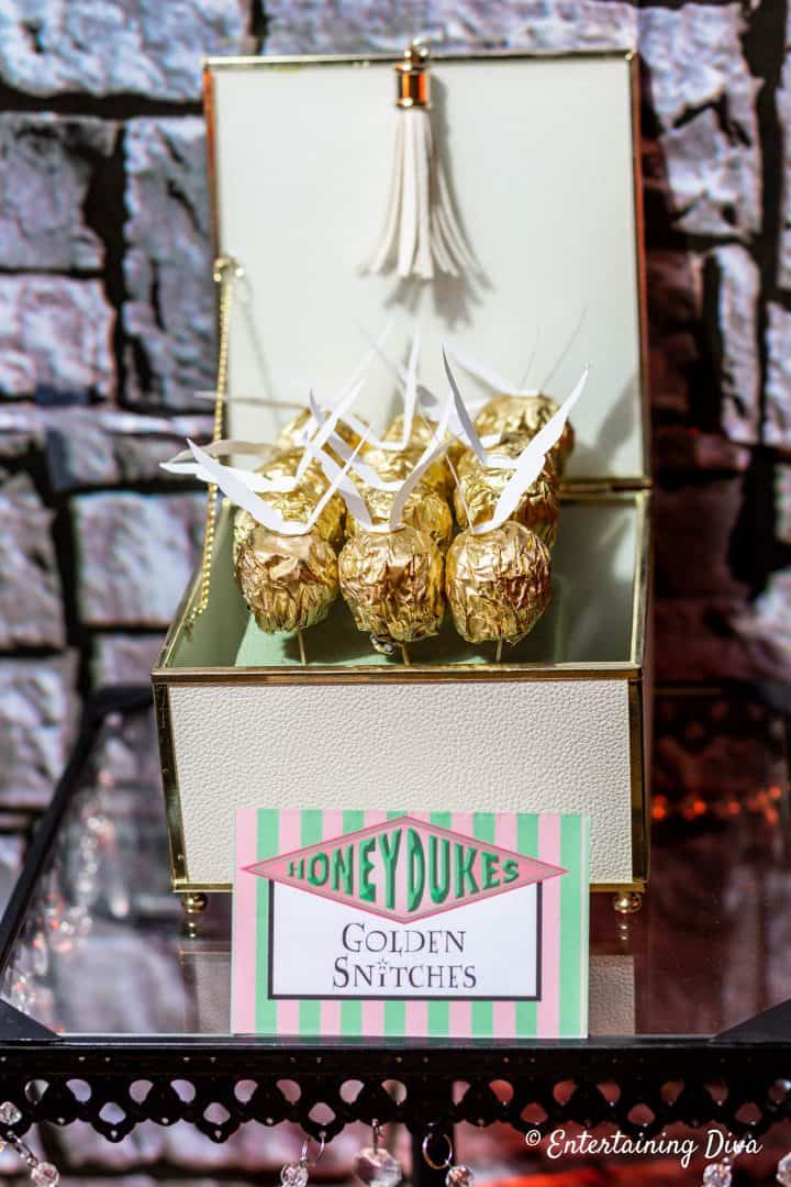 Harry Potter party DIY golden snitches in box