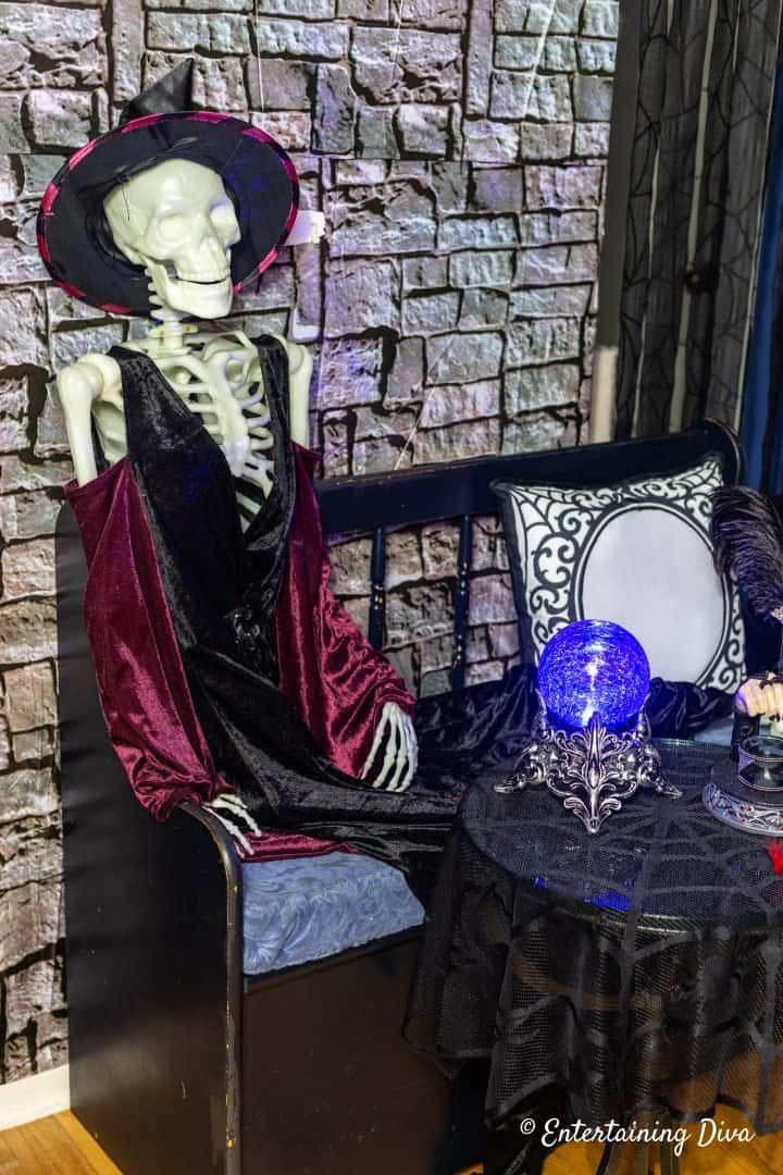 Harry Potter Halloween party coat check attendant witch skeleton