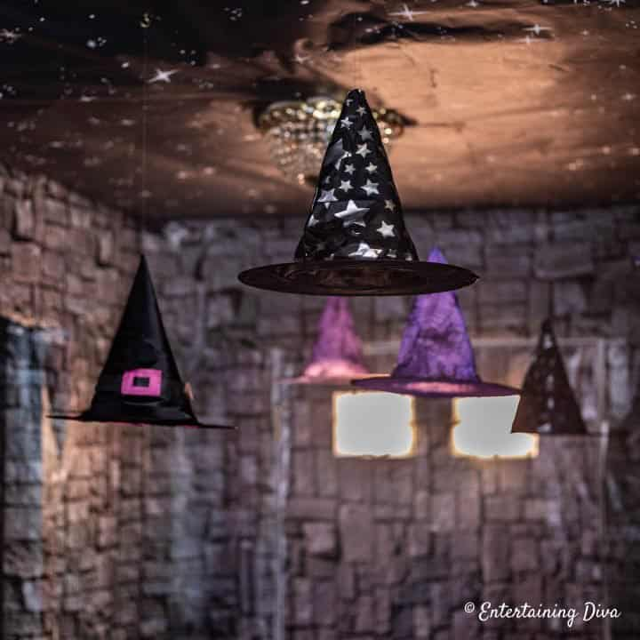 Harry Potter party floating witch hats