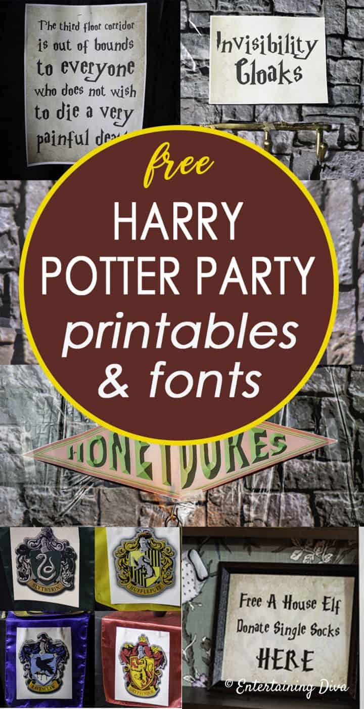 photograph relating to Printable Fonts for Signs named Harry Potter Celebration Printables and Fonts - Enjoyment Diva