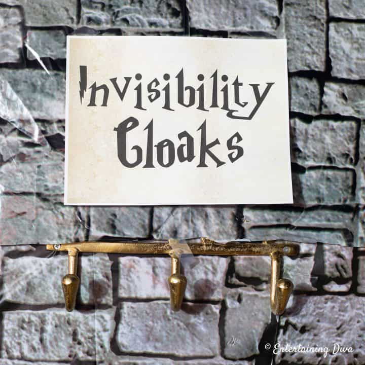 Invisibility cloaks Harry Potter party printable sign