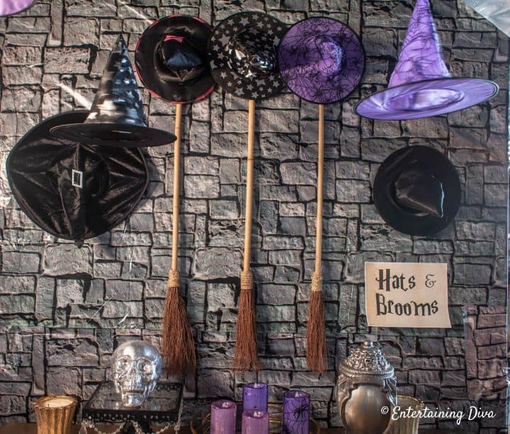 Hats and brooms Harry Potter party printable sign
