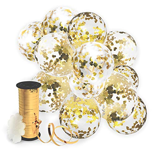 Clear balloons filled with gold confetti