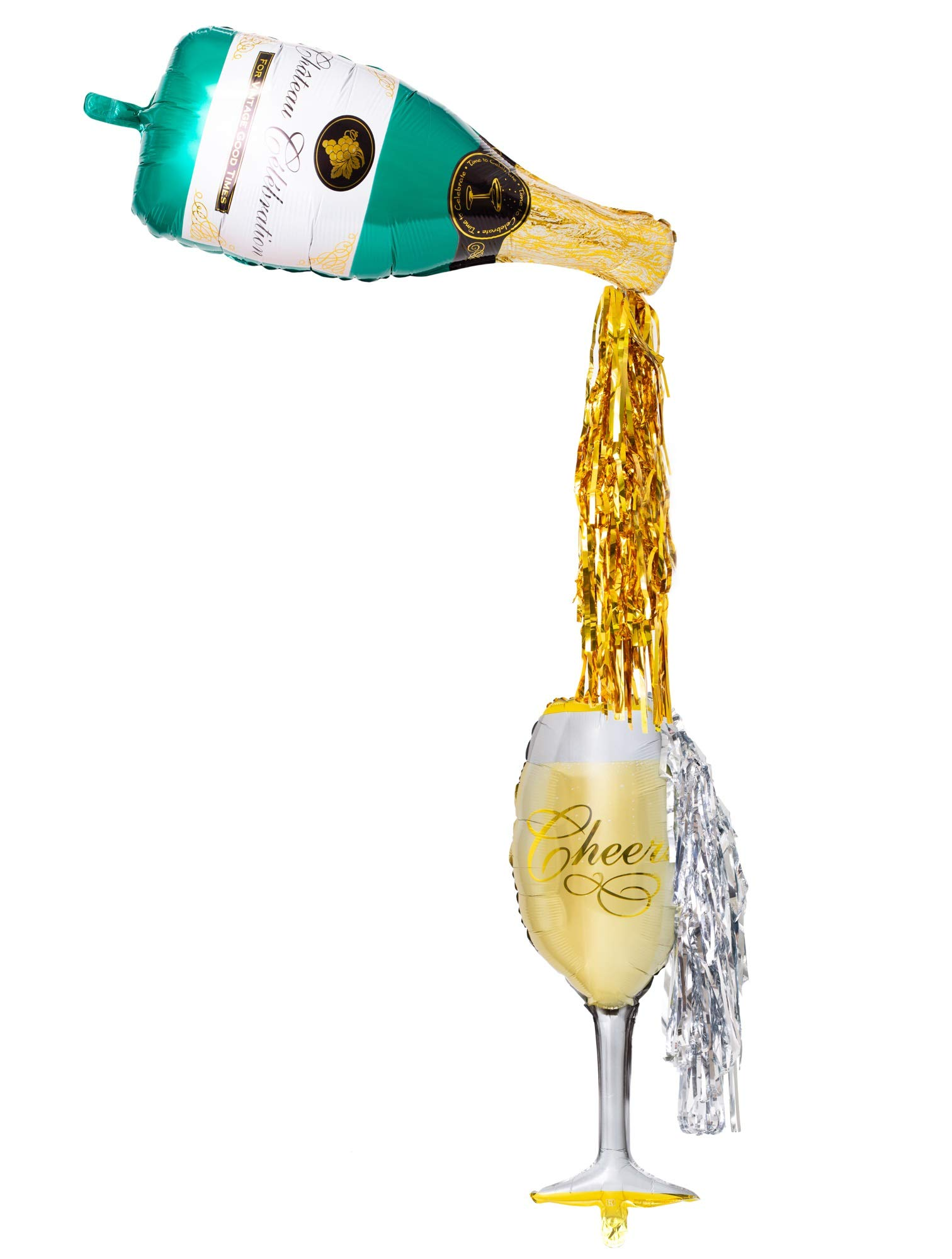 Champagne bottle balloon with flute