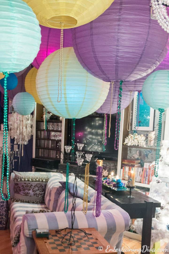 Paper lanterns hung from the ceiling as a last minute New Year's Eve party decoration