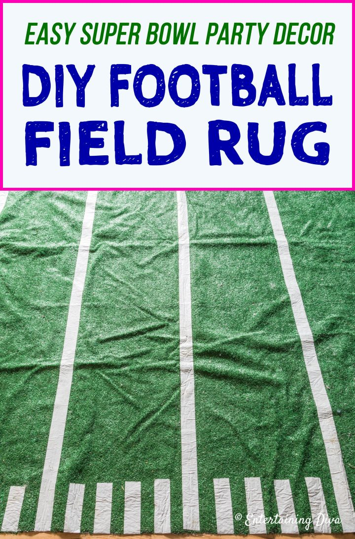 Super Bowl Party Decor: DIY Football Field Area Rug