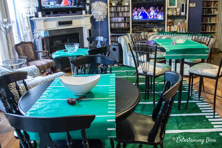 DIY football field area rug and other game day decor