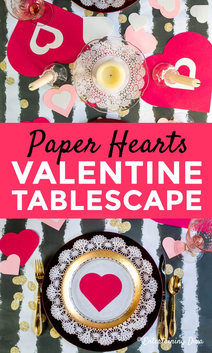 Paper heart Valentine Day table setting