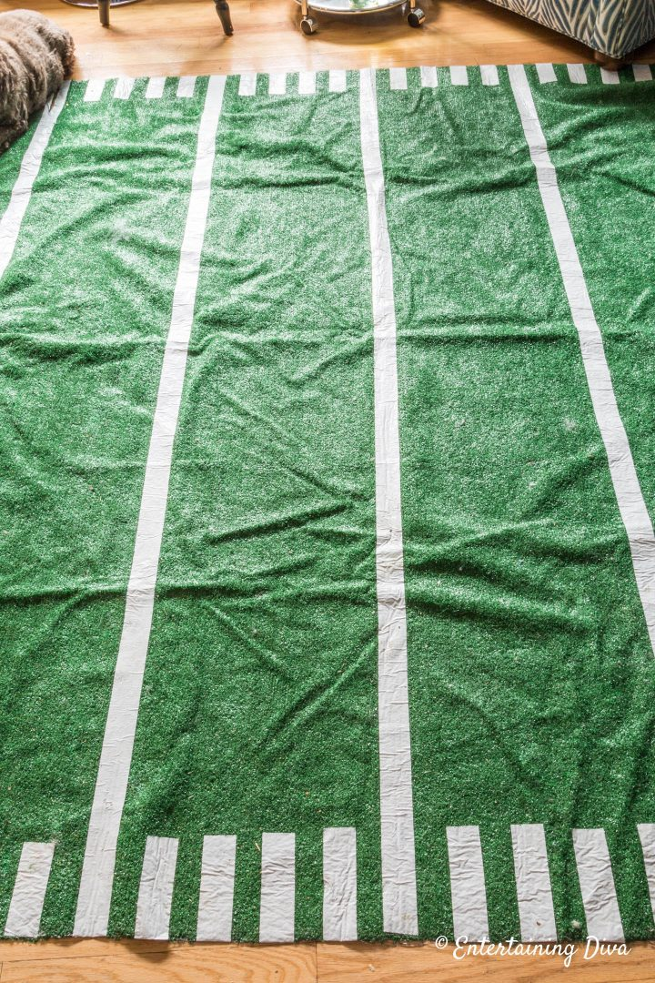 DIY football field area rug design