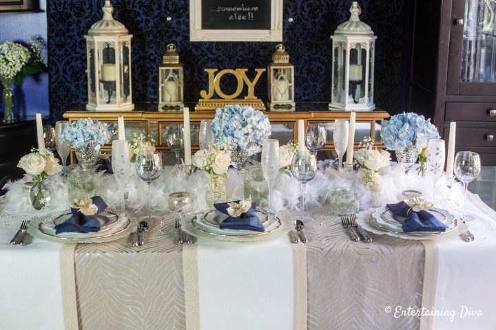 White, gold and silver table runners used as a tablecloth