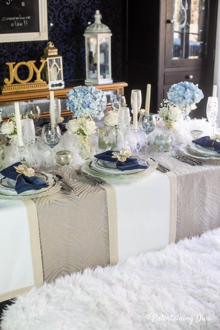 Winter wonderland table decor with faux fur bench