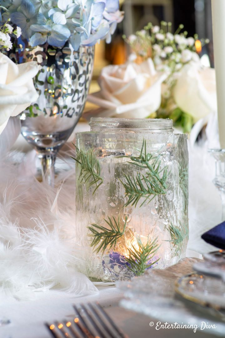DIY ice candle holder as part of winter wonderland centerpiece