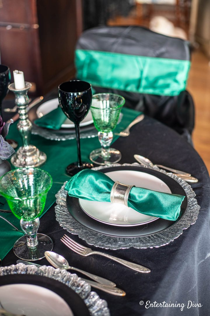 Silver and green Slytherin house place settings for Harry Potter table decor