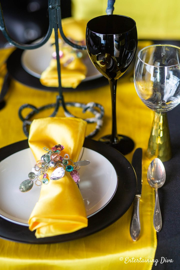 Yellow and black place setting for Harry Potter Hufflepuff House tablescape