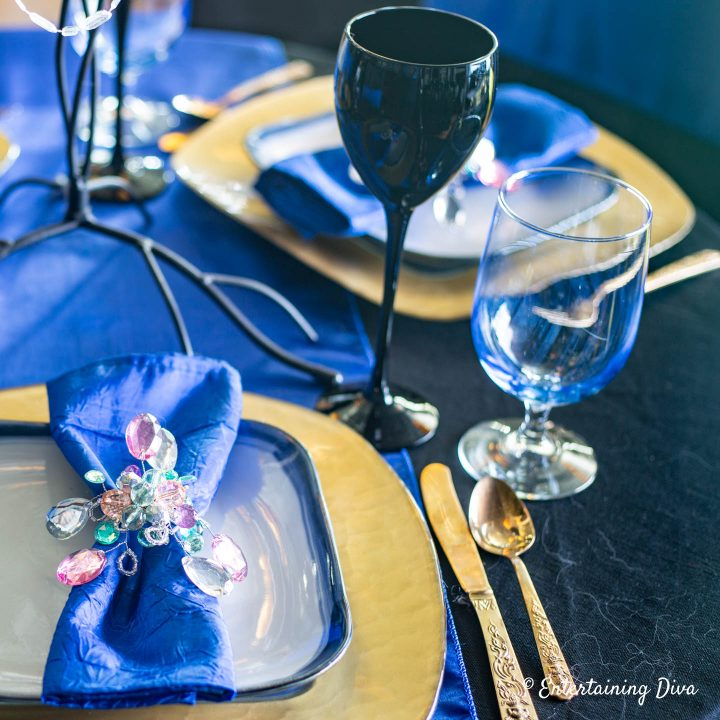 Harry Potter table decor in Ravenclaw house colors of blue and gold