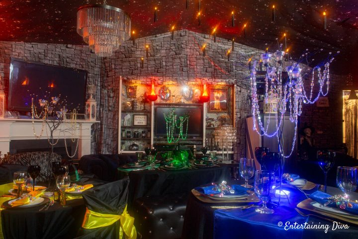 Harry Potter table decor ideas for Ravenclaw, Slytherin and Hufflepuff houses