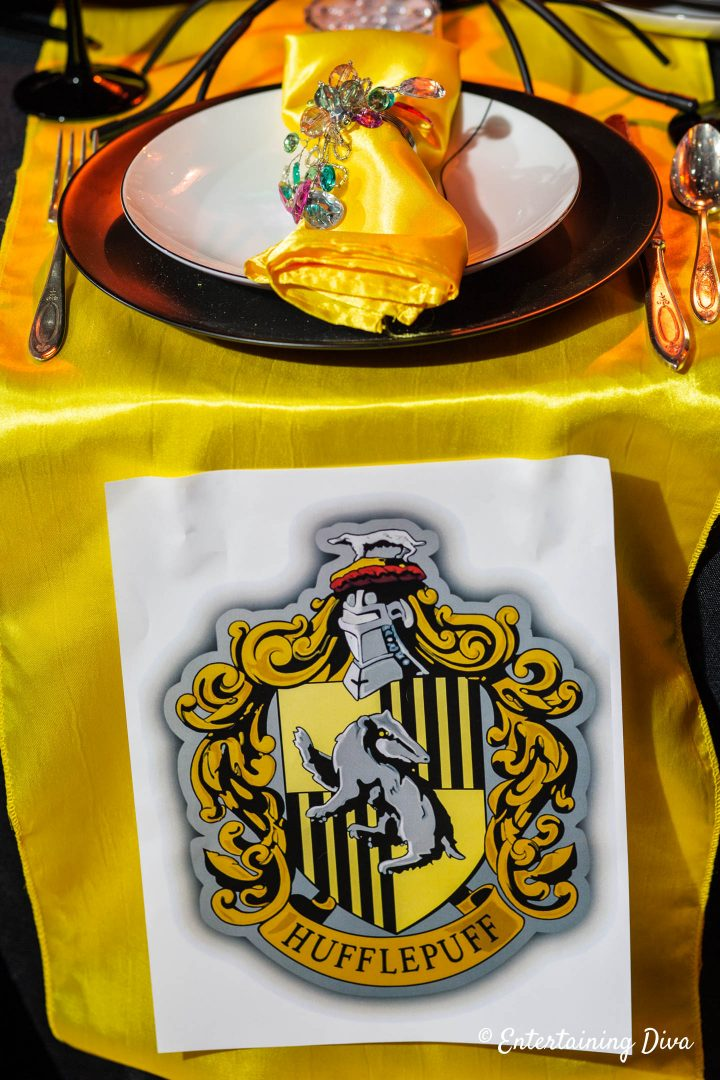 Harry Potter table decor with Hufflepuff house crest